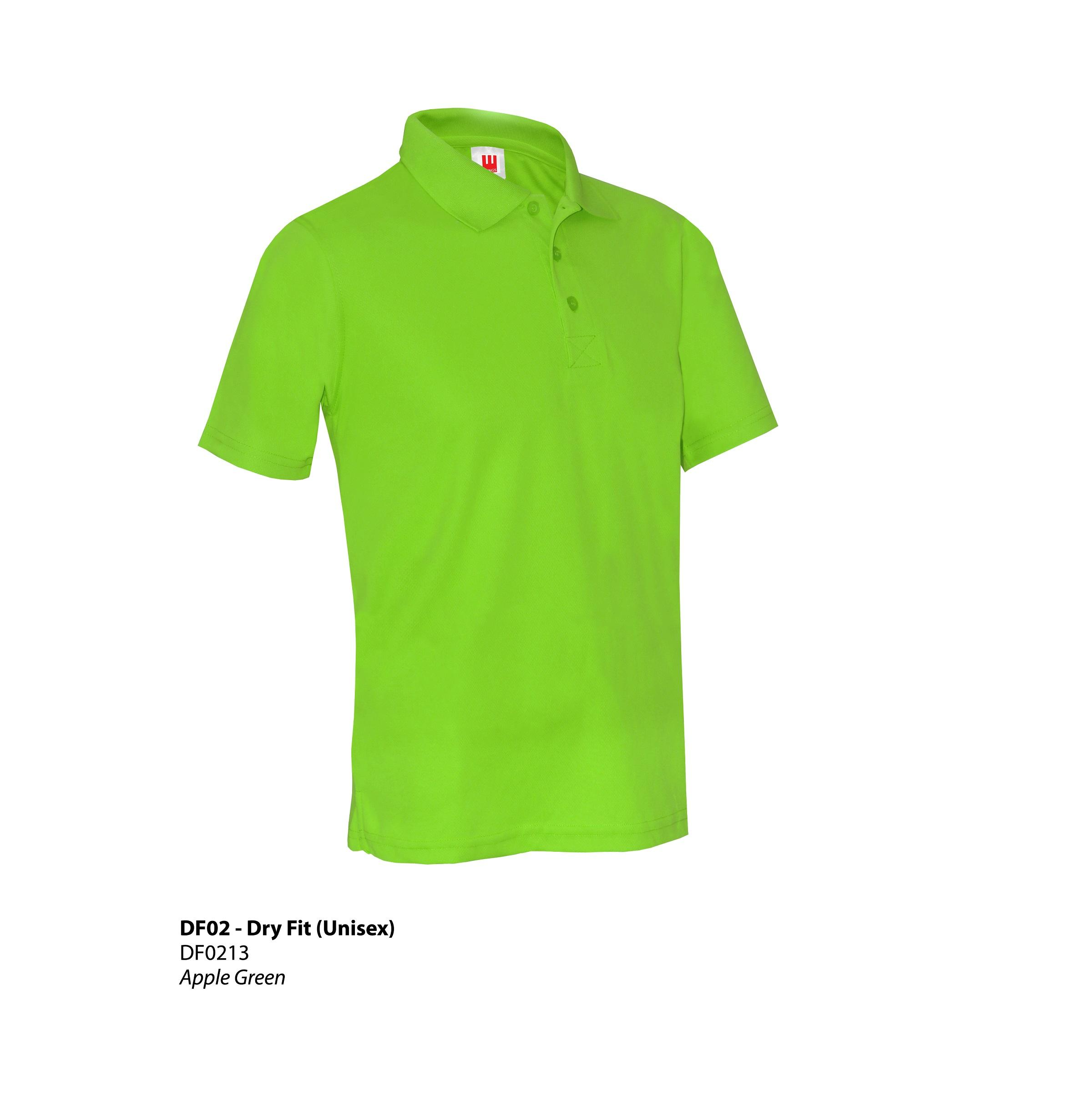 Dry fit collar tee df02 plain 8 colors unisex t for Apple shirt screen printing