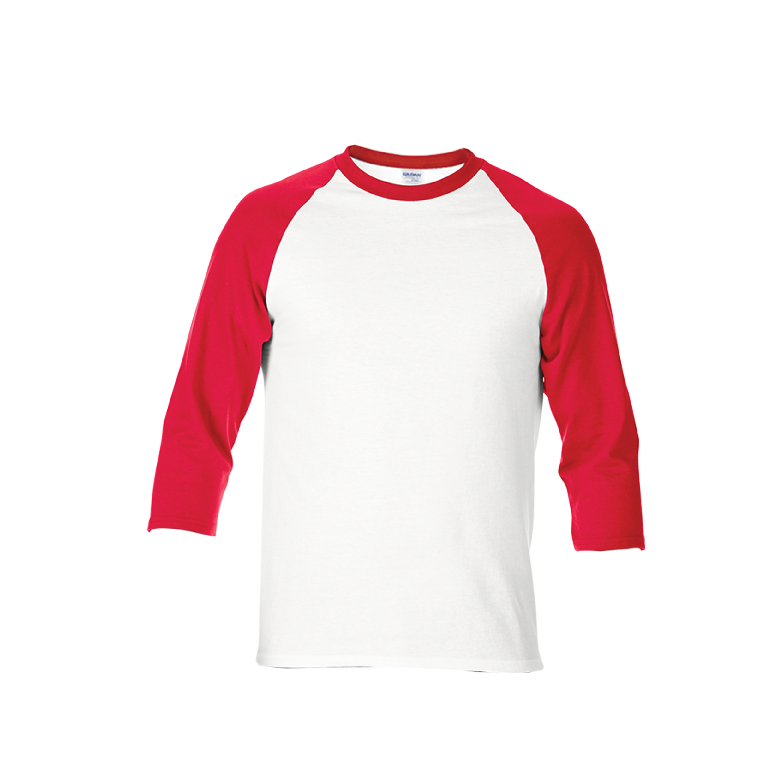 Gildan premium cotton adult 3 4 sleeve raglan t shirt for Black white red t shirt